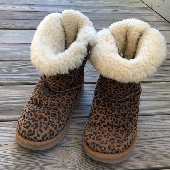 606e8577a78 UGG Bailey Leopard-Print Sheepskin Boot Chestnut